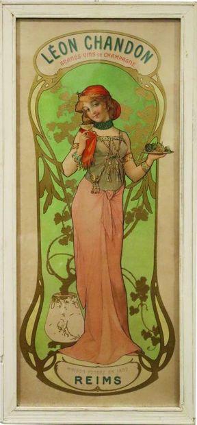 Léon Chandon, Grands Vins de Champagne.  Affiche,...