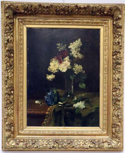 Alfred ROUBY (1849-1909).  Vase de fleurs,...