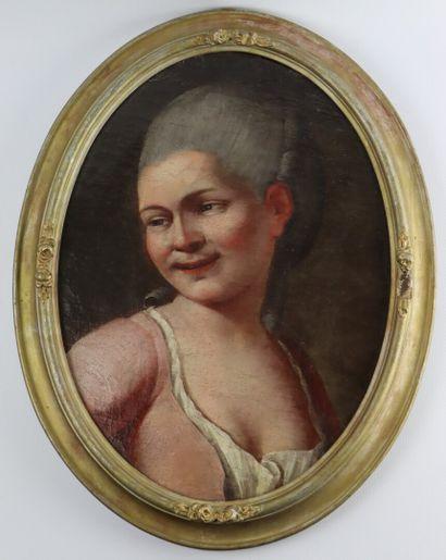 Ecole Vénitienne du XVIIIème siècle.  Portrait...