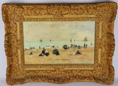Arthur FILLON (1900-1974).  La plage.  Huile...