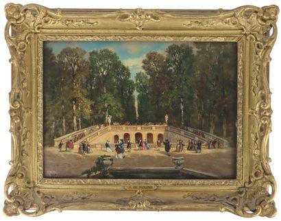 Auguste de MOLINS (1821-1890).  Au parc,...