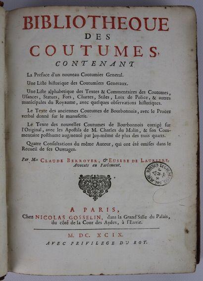 BIBLIOTHÈQUE des Coutumes, contenant La Preface...