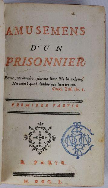 ANONYME. Amusements d'un prisonnier. Paris,...