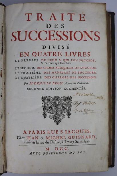 LEBRUN. Traité des successions. Paris, Guignard,...