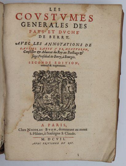 LABBÉ DE MONTVERON (Gabriel). Les Coustumes...