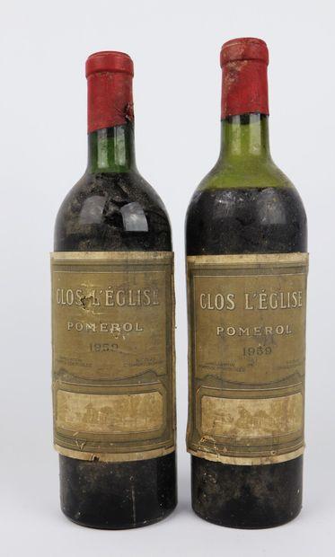 CLOS L'EGLISE.  Millésime : 1959.  2 bouteilles,...