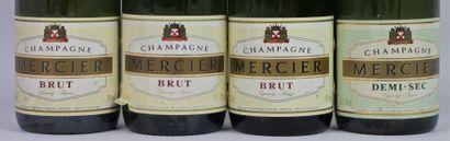 CHAMPAGNE MERCIER.  4 demi-bouteilles, 3 brut et 1 demi-sec