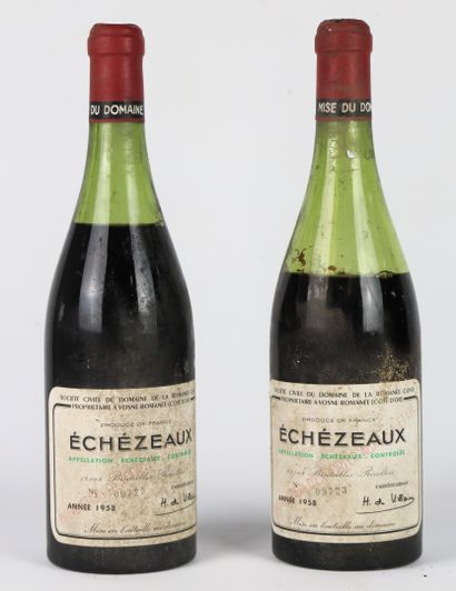 ECHEZEAUX.  Domaine de la Romanée Conti.  Millésime: 1958.  Deux bouteilles, e.l.s.,...
