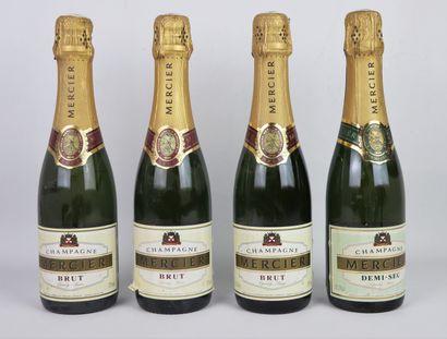 CHAMPAGNE MERCIER.  4 demi-bouteilles, 3...