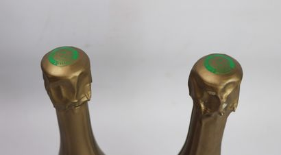 CHAMPAGNE DOM RUINART.  Millésime : 2002.  2 bouteilles, traces de papier de soie...