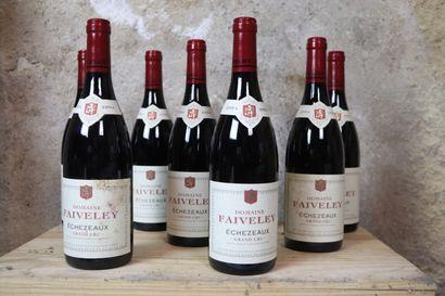 ECHEZEAUX GRAND CRU FAIVELEY.  Millésime : 2004.  8 bouteilles, CBO de 12, 2 étiquettes...