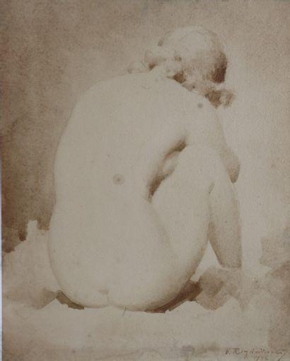 Vladimir ROZMAINSKY (1885-1943).  Nu.  crayon...