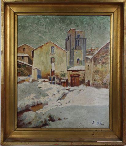 Louis RETRU (1865 - 1951).  Paysage enneigé....