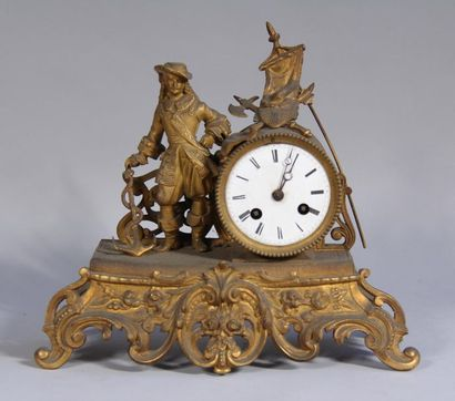 *Pendule en régule doré, décor au maure,...