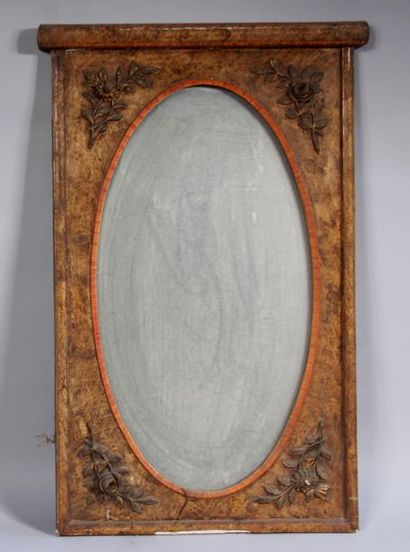 *Glace rectangulaire en bois stuqué peint...