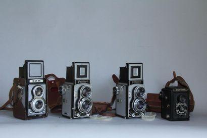 Lot de 3 appareils photos reflex bi-objectifs...