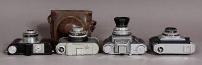 Lot de quatre appareils photo : - ALSAPHOT modèle d'ASSAS-Lux avec obj. Boyer Topaz...