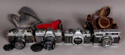 Lot de quatre appareils photos : - FUJICA modèle STX-1N avec obj. X-Fujinon 1:1,9...