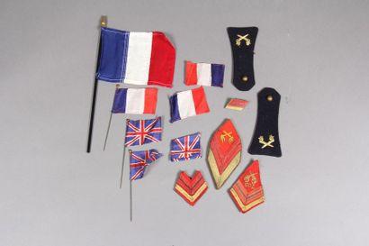 Lot de drapeaux miniatures et insignes militaires