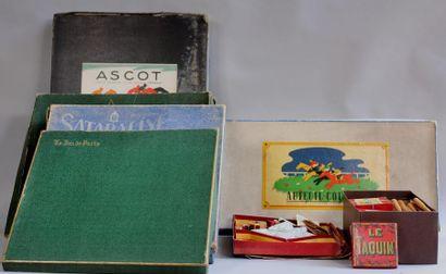 Sept boites à jeux et divers dont ASCOTT,...