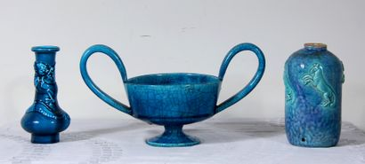 *- LONGWY  Vase balustre en faïence à glaçure...