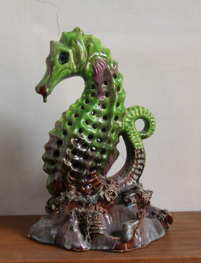 *VALLAURIS  Hippocampe  Sculpture en faïence...