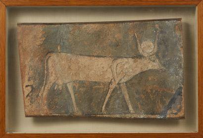 Fragment de cercueil découpé représentant...