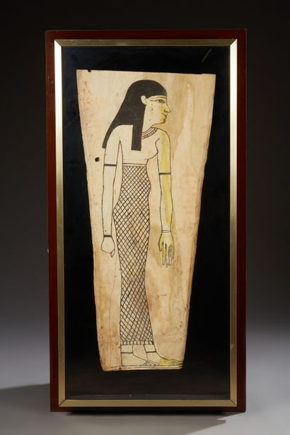 Planche de sarcophage représentant une femme...