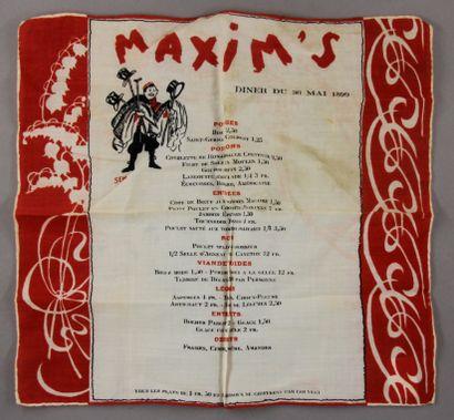 MAXIM'S - SEM ill  Menu du 30 mai 1899 en...