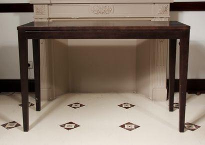 Console rectangulaire en bois teinté, pieds...