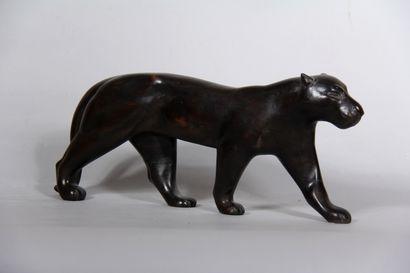 VAGO  Panthère  Sculpture en bois teinté,...