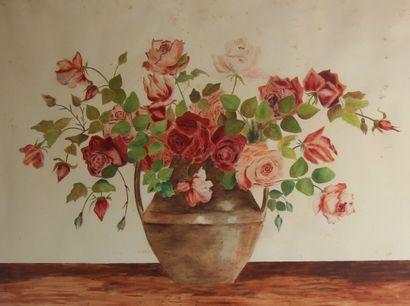 Olga PATERNE  Vase fleuri  Aquarelle signée...