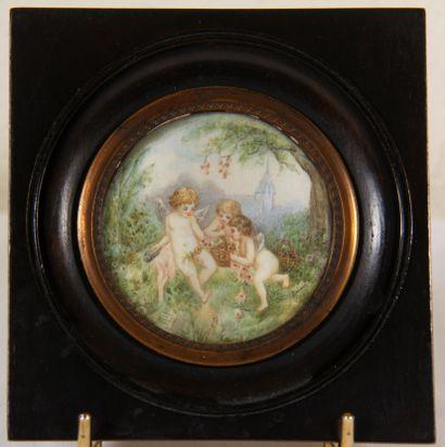 DUBOURG  Trois angelots dans un paysage  Miniature...