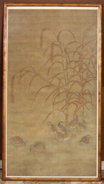 Ecole japonaise du XIXème s.  Poules d'eau...