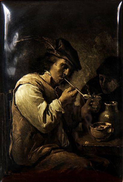 Ecole moderne  Le fumeur d'après David Teniers...