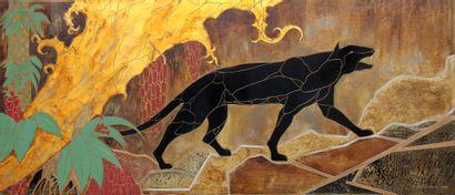 R. DELAMARRE  Félin  Panneau décoratif mural...