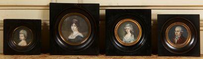 Ecole française  Portraits  Quatre miniatures...