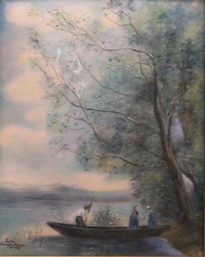 Camille FAURE (1874-1956)  Promenade en barque...