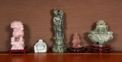 Lot de sculptures en pierre dure, Chine moderne...