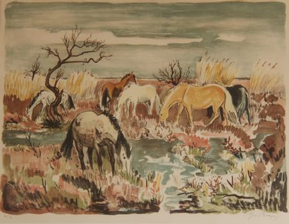Yves BRAYER (1907-1990)  Les chevaux  Lithographie...