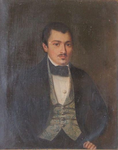 Ecole du XIXème s.  Portrait d'homme  Huile...