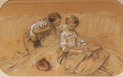 Charles Etienne LEGUAY (1742-1846), attribué à  Enfants dans un champ de blé  Fusain...