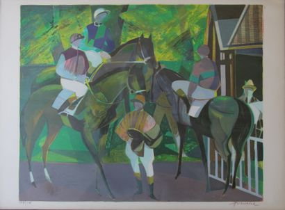 Camille HILAIRE (1916-2004)  Chevaux au paddock...
