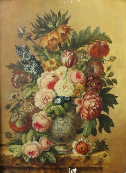 Ecole hollandaise vers 1900  Paire de bouquets...