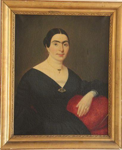Ecole du XIXème s.  Portrait de femme  Huile...
