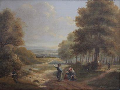 Ecole flamande du XIXème siècle.  Paysage...