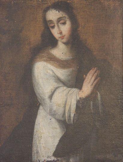 Ecole du XVIIIème s.  Sainte en prière  Huile...