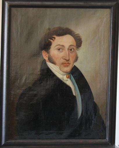 Ecole française du XIXème s.  Portrait d'homme...