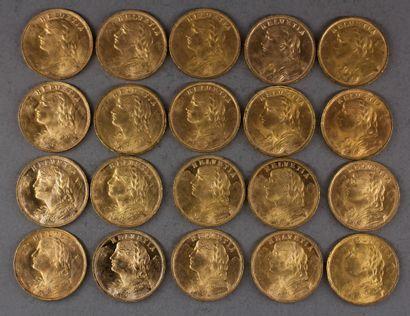 *Vingt pièces de 20 Francs Suisse en or