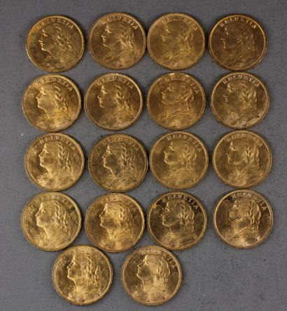 *Dix huit pièces de 20 Francs Suisse en ...